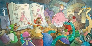 "Toby Bluth Artist Signed Limited Edition Hand Deckled Giclee on Paper:""Sew Beautiful (Cinderella)"""