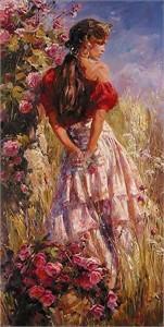 "Garmash Limited Edition Embellished Giclee on Canvas:""Cherished Roses"""