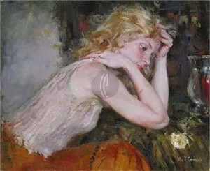 "Garmash Handsigned and Numbered Limited Edition Embellished Giclee on Canvas:""Silent Thoughts"""