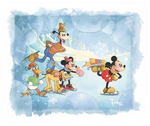 "Toby Bluth Handsigned and Numbered Limited Edition Hand Deckled Giclee on Paper:""Winter Wonderland - Mickey Mouse"""