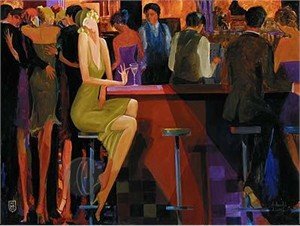 "Avtandil  Limited Edition Embelleshed Giclee on Canvas :""Cocktails at the Club"""