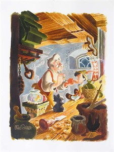 """Mike Perazza Hand Signed and Numbered Giclee on Paper:""""Finishing Touches - Pinocchio"""""""