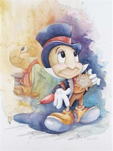 "Michelle St. Laurent Hand Signed and Numbered Limited Edition Giclee on Canvas:""Jiminy Cricket"""