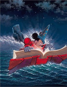 "Rodel Artist Signed and Numbered Limited Edition Disney Fine Art Hand-Embellished Canvas Giclee:""Sorcery"""