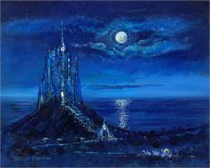 "Harrison Ellenshaw Handsigned and Numbered Limited Edition Disney Fine Art Canvas Giclee:""Cinderella's Moonlit Arrival"""