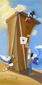 "Katie Kelly Handsigned and Numbered Limited Edition Disney Fine Art Canvas Giclee:""Boat Builders"""