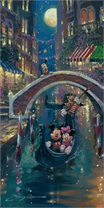 "James Coleman Hand Signed and Numbered Limited Edition Embellished Canvas Giclee:""Moonlight in Venice (Mickey Mouse)"""