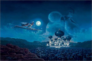 "Rodel Gonzalez Handsigned and Numbered Limited Edition Embellished  Canvas Giclee:""Flight Over Agrabah (Aladdin)"""