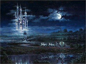 "Rodel Gonzalez Handsigned and Numbered Limited Edition Embellished Canvas Giclee:""Moonlit Castle  (Cinderella)"""
