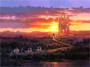 "Rodel Gonzalez Handsigned and Numbered Limited Edition Embellished Canvas Giclee:""Castle at Sunset  (Cinderella)"""