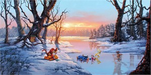 "Rodel Gonzalez Limited Edition Hand Embellished Giclee on Canvas:""Playful Afternoon - Winnie the Pooh"""
