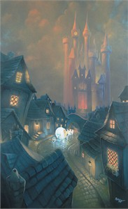 "Rob Kaz Signed and Numbered Hand-Embellished Giclée on Canvas:""The Palace Awaits-Cinderella"""