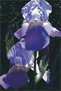 "Brian Davis Hand Signed and Numbered Limited Edition Giclee on Canvas:""Two Blue Irises"""