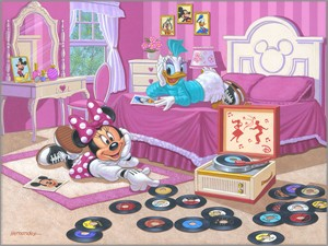 "Manuel Hernandez Signed and Numbered Limited Edition Giclée on Canvas:""Minnie and Daisy's Favorite Tune"""