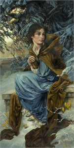 "Heather Theurer Hand-Signed and Numbered Limited Edition Hand-Embellished Textured Canvas Giclee:""Love Blooms in Winter - Beauty and the Beast"""