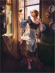 "Heather Theurer Hand-Signed and Numbered Limited Edition Hand-Embellished Textured Canvas Giclee:""Cinderella's New Day"""