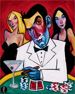 "Tim Rogerson Handsigned and Numbered Embellished Giclee on Canvas:""High Roller"""