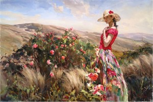 "Michael & Inessa Garmash Hand Signed and Numbered Limited Edition Embellished Giclee on Canvas:""Local Color"""