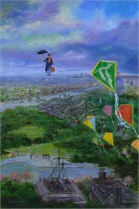 "Harrison Ellenshaw  Artist Signed and Numbered Limited Edition Hand-Textured Gicl�e on Canvas :""Lets Go Fly a Kite"""