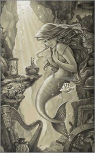 "Edson Campos Hand Signed and Numbered Limited Edition Giclee on Paper:""Ariel's Treasured Things"""