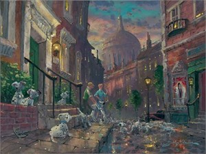 "James Coleman Disney Fine Art Limited Edition Giclee on Canvas:""We'll Keep Em - 101 Dalmatians """