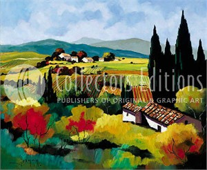 """Joanny Limited Edition Embellished Giclee on Canvas :"""" Automne in the Vineyard"""""""