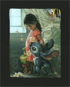 "Heather Theurer Remarque Limited Edition Chiarograph on Black Paper:""Ohana Means Family  *FREE Custom Framing Included*"""