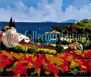 """Joanny Limited Edition Embellished Giclee on Canvas :""""Les Cabernets """""""