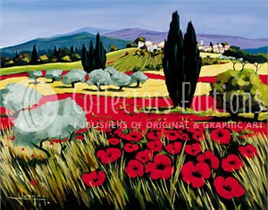 "Joanny Limited Edition Embellished Giclee on Canvas :"" Poppy Village"""