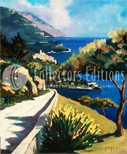 "Joanny Limited Edition Embellished Giclee on Canvas :""Riviera Afternoon """