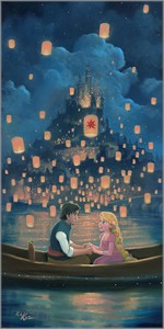 """Rob Kaz Signed and Numbered Giclée on Canvas:""""Star Crossed Love - Tangled """""""