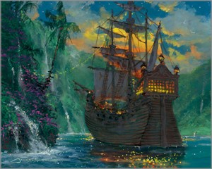 "James Coleman Signed and Numbered Limited Edition Hand-Embellished Giclée on Canvas:""Neverland Bay"""