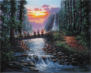 """Rodel Gonzalez Signed and Numbered Giclée on Canvas: """"Forest Bridge"""""""