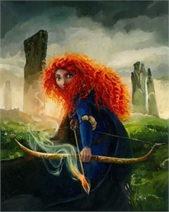 "Jim Salvati Signed and Numbered Hand-Embellished Giclée on Canvas: ""Brave Merida (Lg)"""
