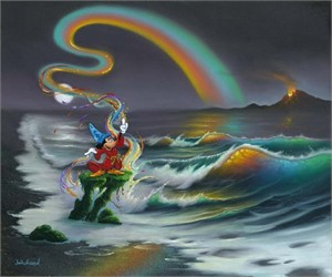 """Jim Warren Signed and Numbered Hand-Embellished Giclée on Canvas: """"Mickey Colors the World"""""""