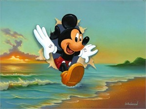 """Jim Warren Signed and Numbered Hand-Embellished Giclée on Canvas: """"Mickey's Grand Entrance"""""""