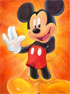 "Bret Iwan Signed and Numbered Gicl�e on Canvas: ""Hi, I'm Mickey Mouse"""