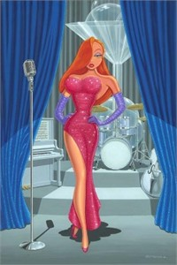 "Manuel Hernandez Signed and Numbered Giclée on Canvas: ""Diva in a Red Dress"""