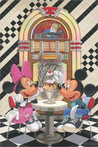 "Manuel Hernandez Signed and Numbered Giclée on Canvas: ""Sundae for Two"""