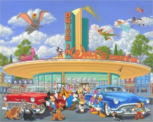 "Manuel Hernandez Signed and Numbered Embellished Giclée on Canvas: ""Walt's Drive In"""