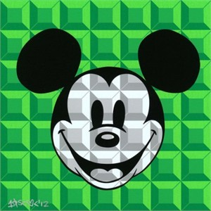 "Tennessee Loveless Signed and Numbered Serigraph on Canvas: ""8-Bit Block Mickey (Green)"""
