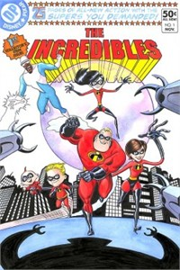 """Bill Morrison Artist Hand-Remarqued Limited Edition Giclee on Deckled Paper: """"The Incredibles #1"""""""