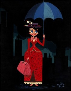 """Lorelay Bove Signed and Numbered Giclée on Canvas: """"Mary's Umbrella"""""""