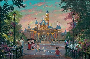 """James Coleman Signed and Numbered Hand Embellished Limited Edition Giclee on Canvas:""""Disneyland - Twilight Beauty"""""""