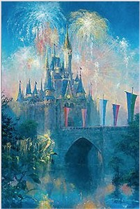 "James Coleman Signed and Numbered Hand Embellished Limited Edition Giclee on Canvas:""Walt Disney World Castle"""