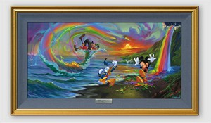 """Disney Framed Limited Edition Canvas Giclee:""""Mickey and the Boys at Rainbow Falls"""" by Jim Warren"""