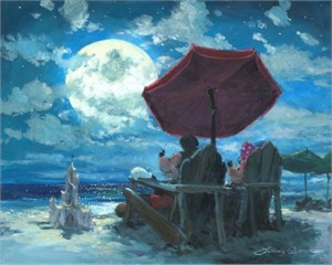 "James Coleman Signed and Numbered Hand Embellished Limited Edition Giclee on Canvas:""Under the Moonlight"""