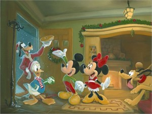 """Rob Kaz 2012 Disney Holiday Limited Edition Canvas Giclee:""""Mickey Mouse - Home for the Holidays"""""""