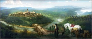 """Disney's Beauty and the Beast Limited Edition Gallery Wrap Canvas Giclee:""""Gaston and Lefou's Arrival"""""""