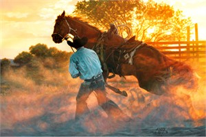 "Tim Cox Hand Signed and Numbered Limited Edition Canvas:""When Horse Whispering Gets Loud"""